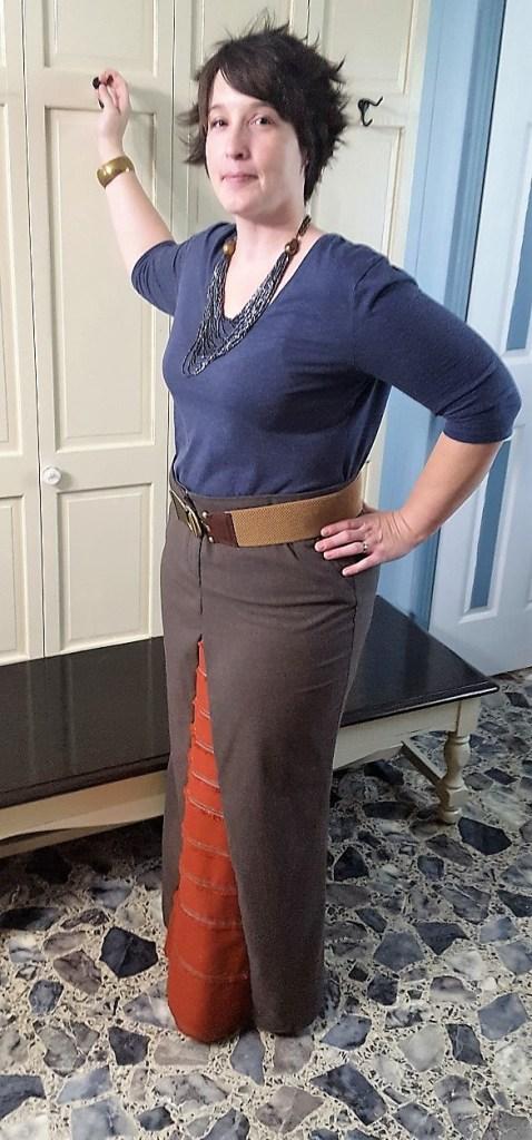Pants into a skirt