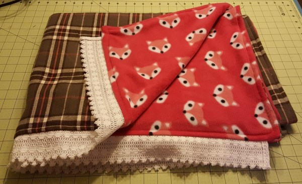 fleece, flannel, and, lace throw