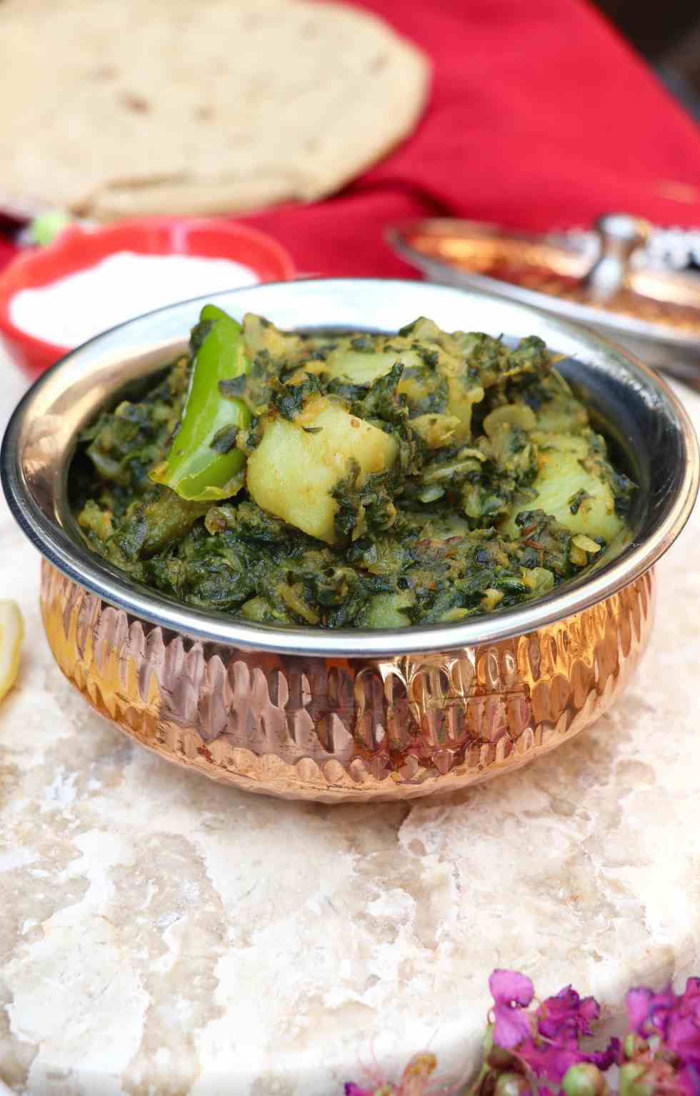 aloo palak spinach and potato curry