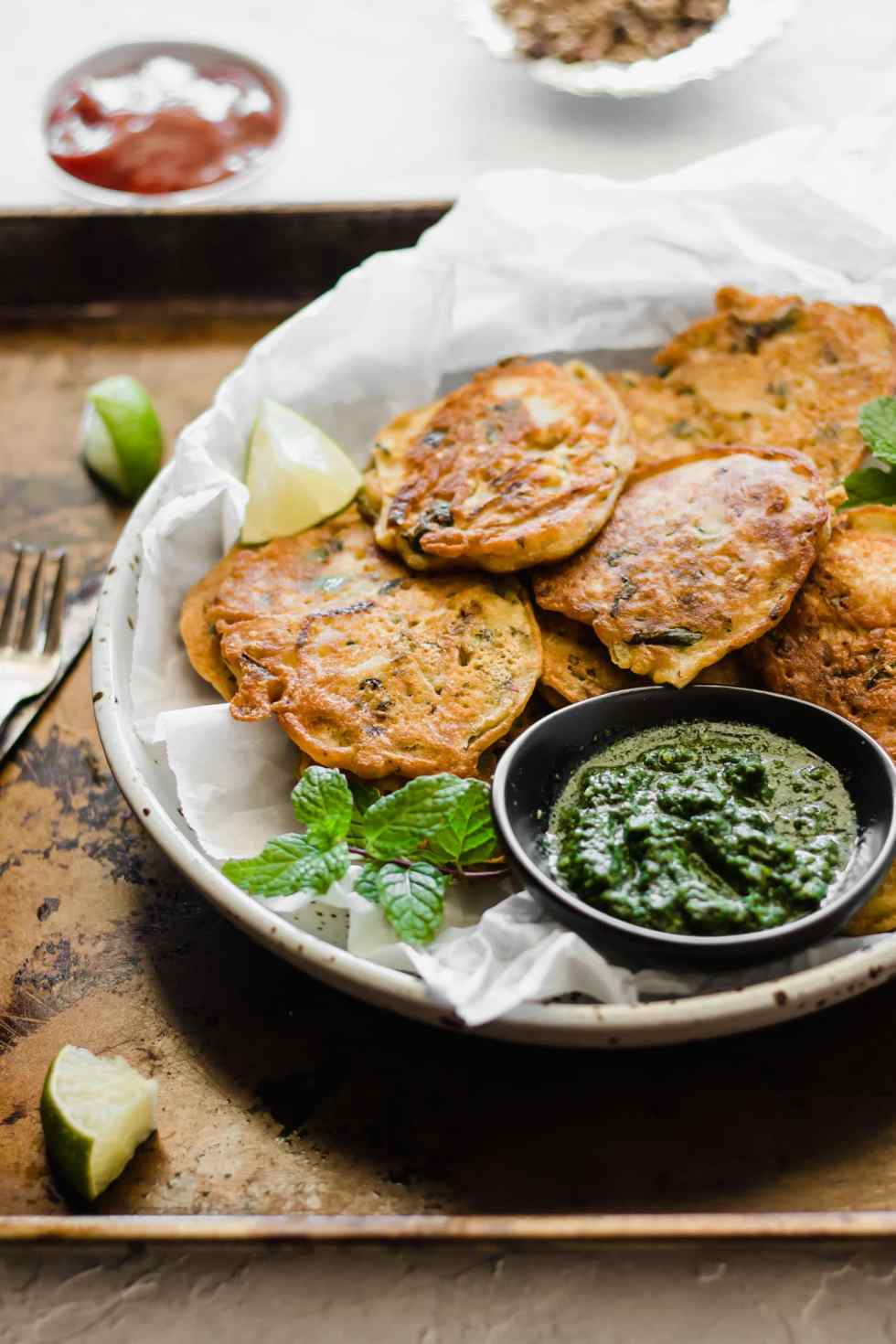 Pan-Fried Pakistani Pakora + Simple Green Chutney