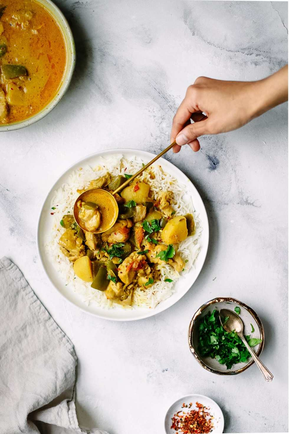 Coconut Chicken Curry with Potatoes and Bell Pepper