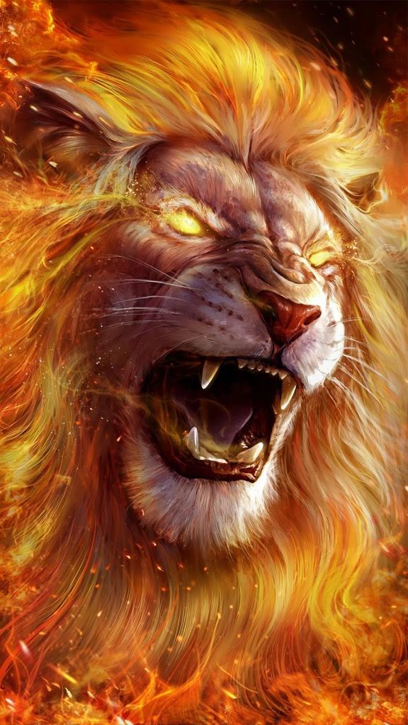 Lion Hd Wallpaper Roaring Lion On Fire 576x1024 Wallpaper Teahub Io