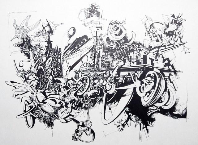 Bold Art Graphic Drawings Architecture Graffiti Black - Street Art