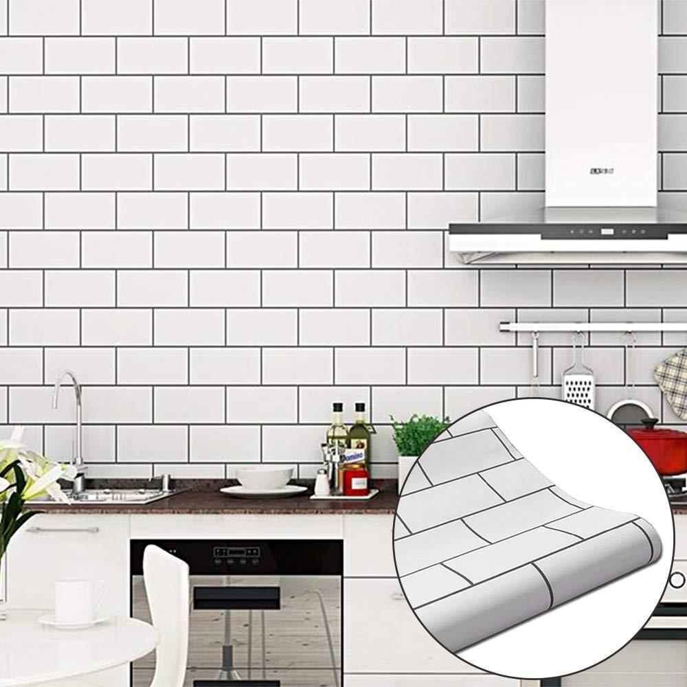 white brick tile backsplash kitchen