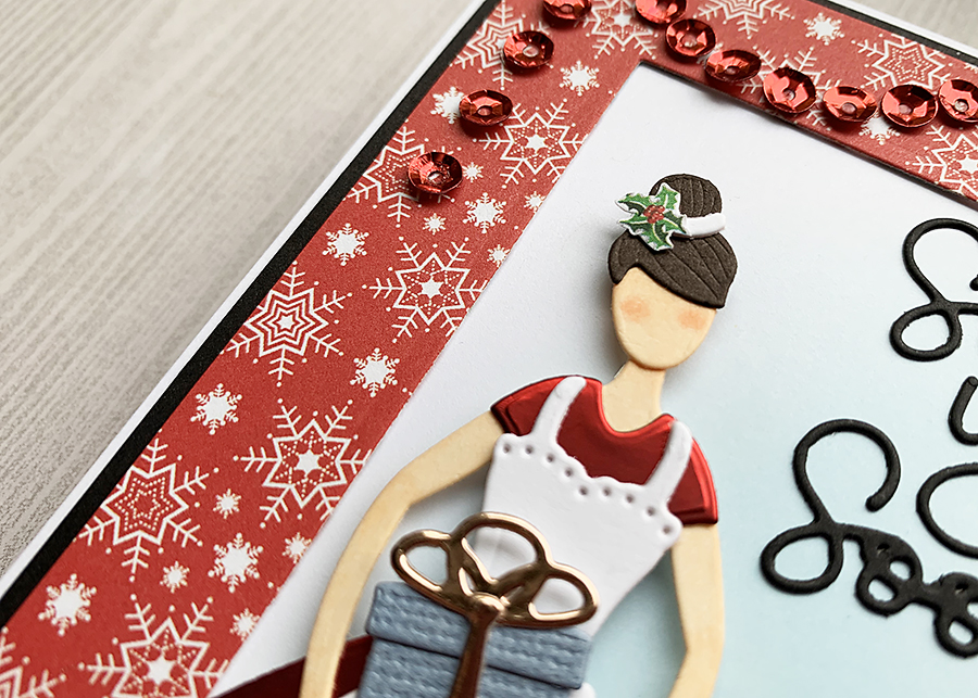 Close up of the little lady - Spellbinders Small Die of the Month: Home for the Holidays