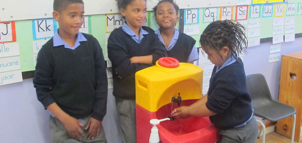 Mobile sinks for hand washing at Brandwacht Primary School