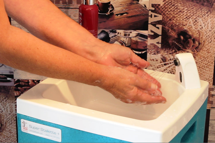 Portable hand wash units for caterers by Teal