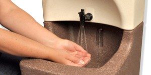 The TEAL WashStand portable sink for nursing home hand washing
