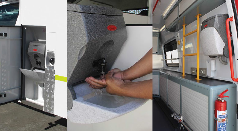 TealWash hand wash units for use in ambulances