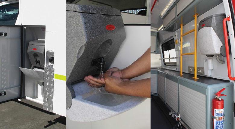 TealWash hand wash units for use in ambulances