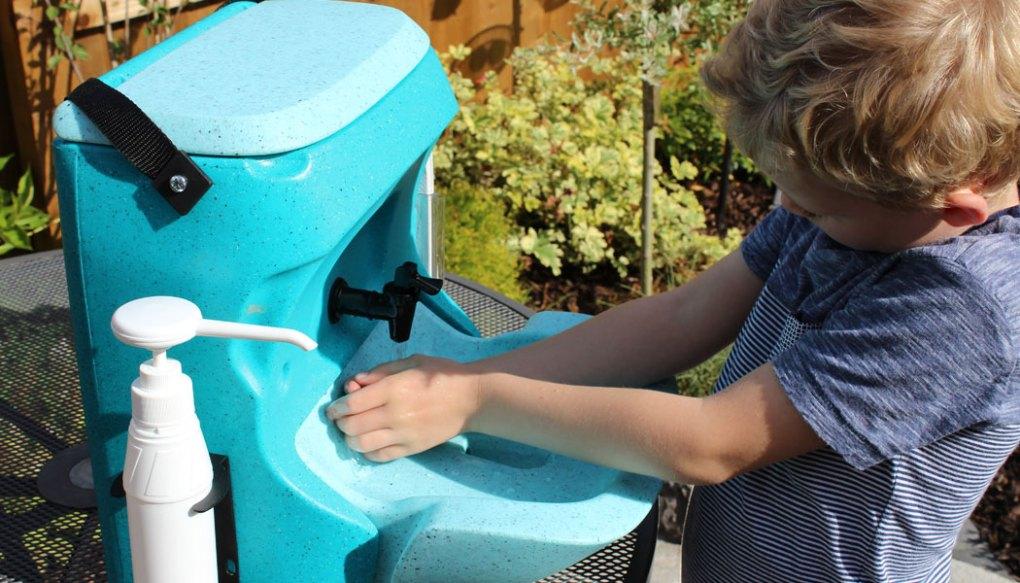 Blue KiddiWash portable hand wash unit for preschool children