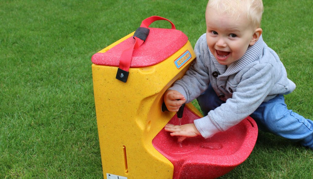 Yellow KiddiWash portable hand wash unit for preschool children