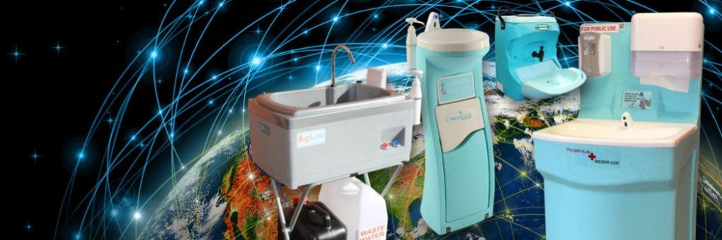 Teal portable handwash units are sold around the world