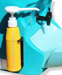 Soap bottle on a Teal portable hand wash unit
