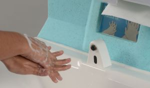 Hand washing can be carried out at the point of need with a portable handwash station
