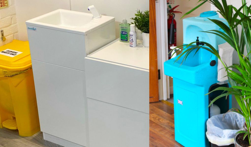 Portable hand washing units can be safely deployed throughout the workplace