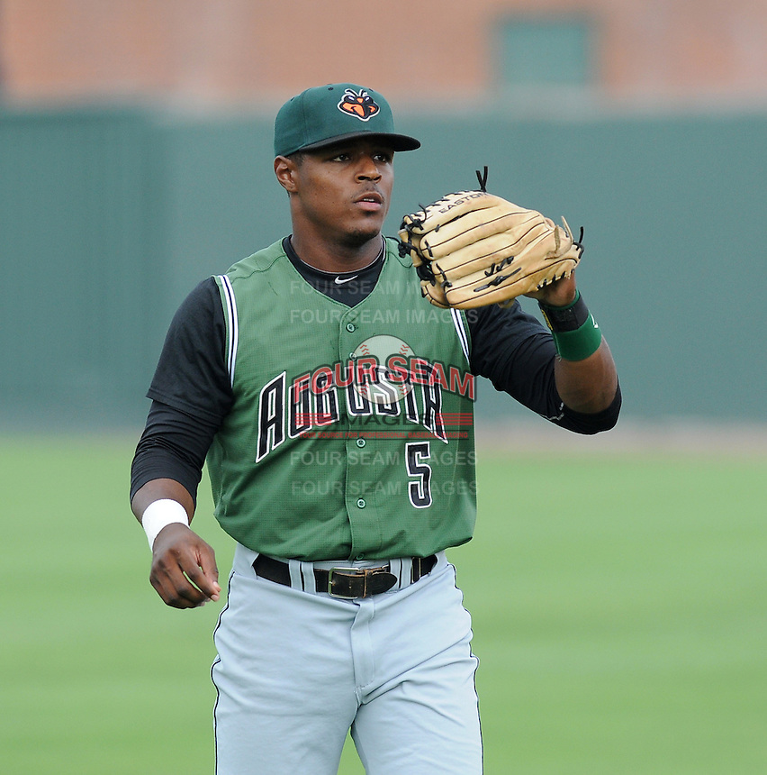 Outfielder Shawn Payne (5) of the Augusta GreenJackets, a San Francisco Giants affiliate, prior to a game against the Greenville Drive on August 22, 2012, at Fluor Field at the West End in Greenville, South Carolina. Augusta won, 6-1. (Tom Priddy/Four Seam Images)