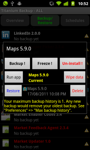 Titanium Backup - Google Maps 5.9 Backup