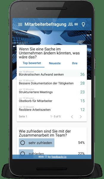 Benutzeroberfläche von feedbackr