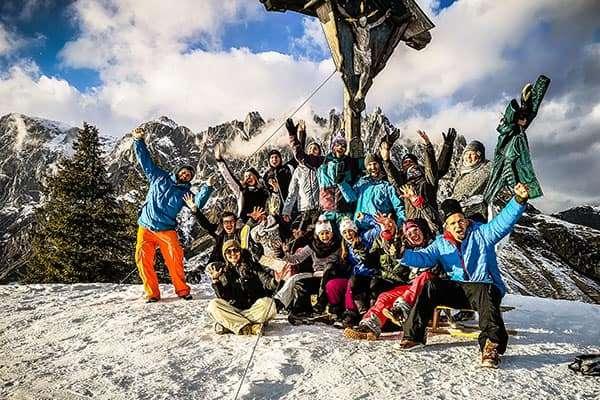 Gipfelfoto am Berg von der Weihnachtsfeier 2019