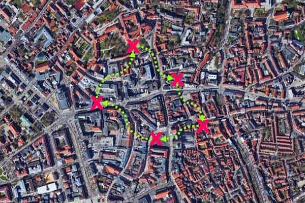 Sinnbildliche Darstellung der City-Challenge in Augsburg