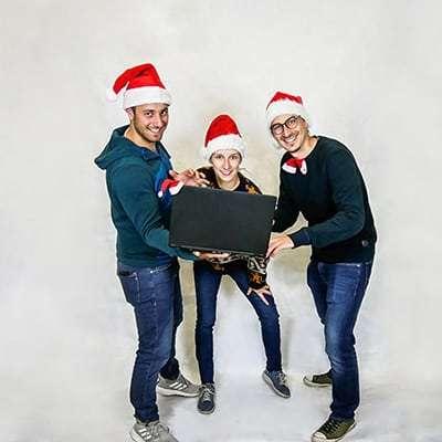 Virtuelle Weihnachtsfeier Paul Salzmann, Marlene Vukmanic und Paul Stanzenberger