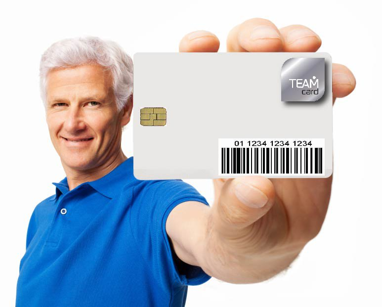 Man holding a TeamCard card