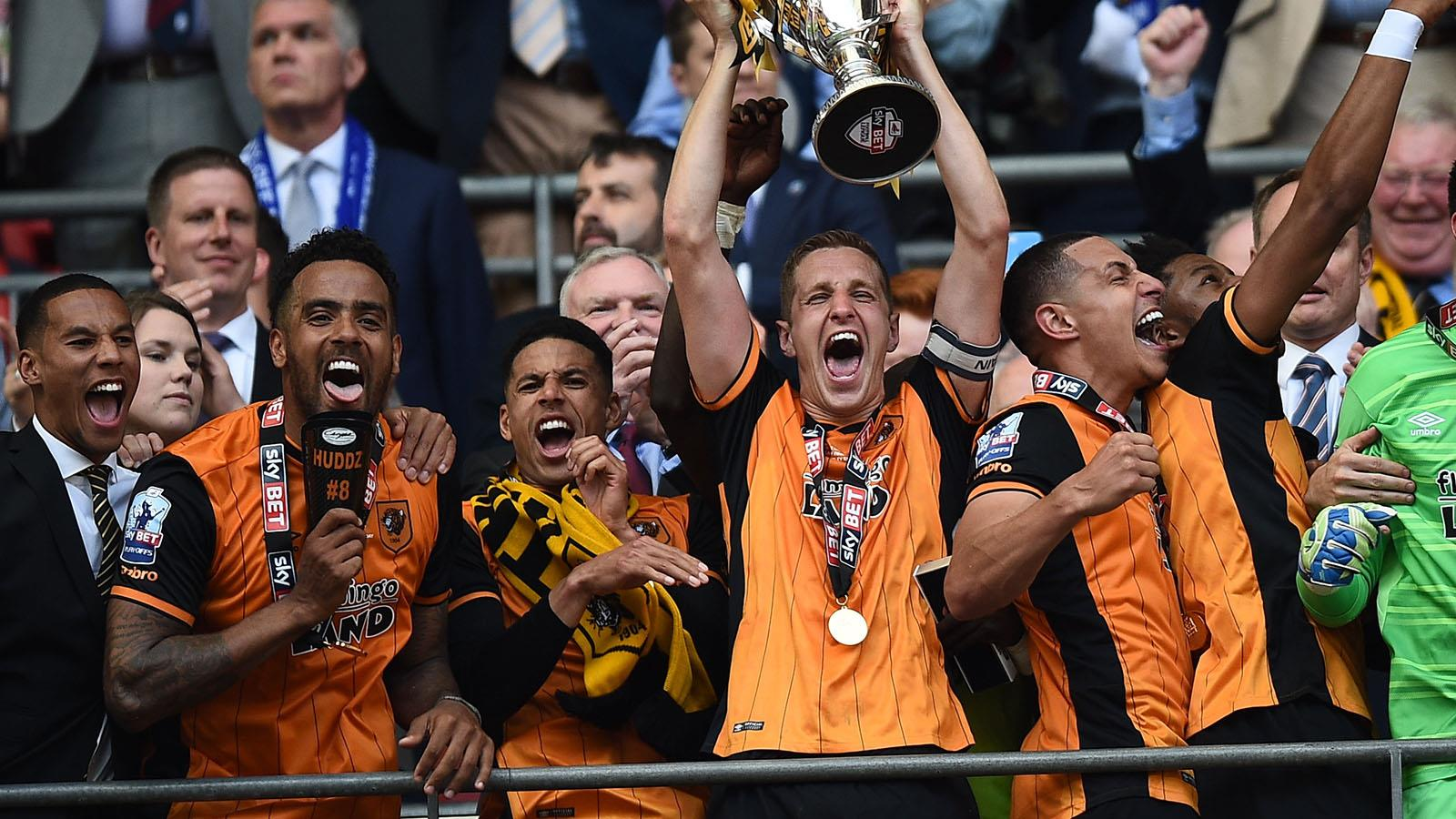 Michael Dawson Lifting the Trophy for Hull City