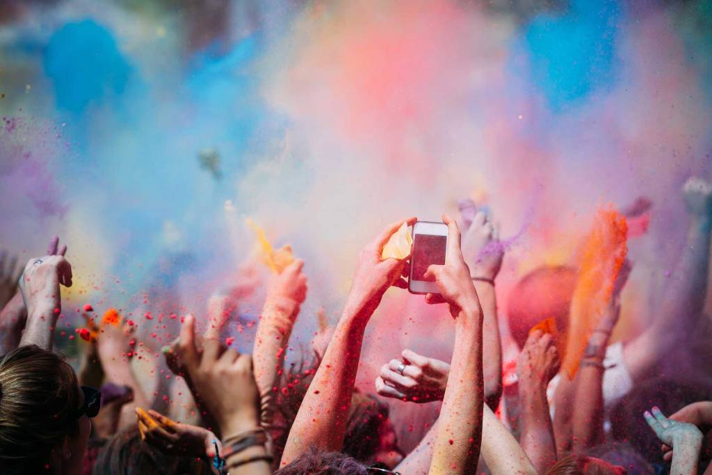Festival with colourful paint