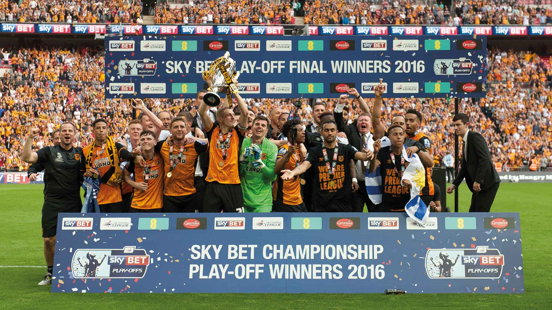 Hull City Lifting the Play Off Trophy