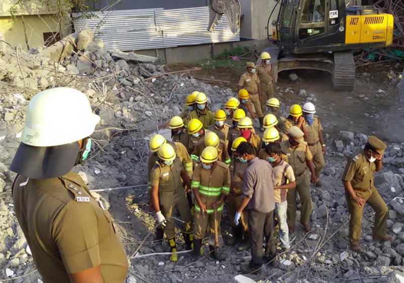 Team Dhaksha in Building Collapse Site at Moulivakkam