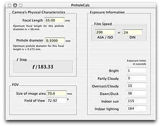 Pinhole calc for OS X