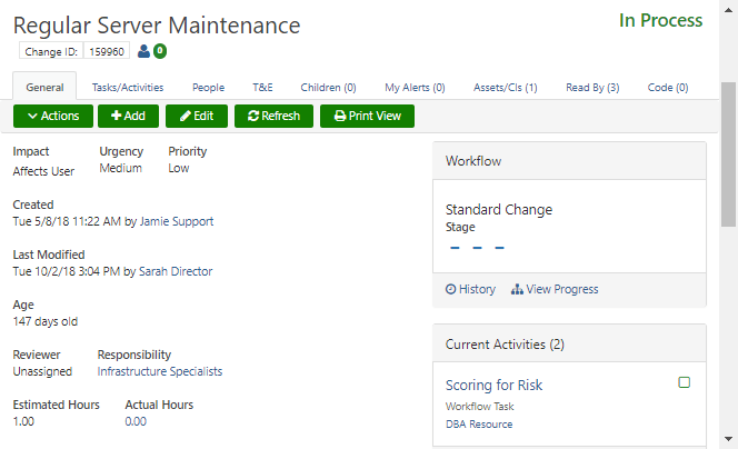 change release management screen