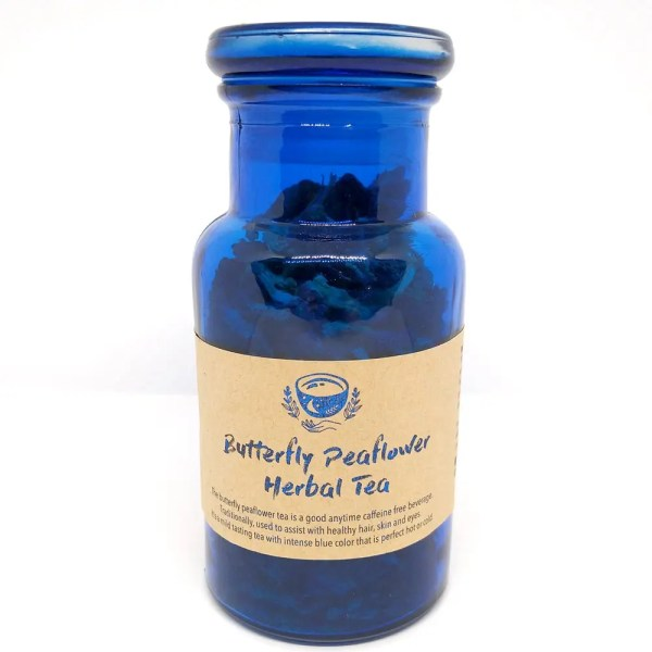 blue butterfly tea in a jar