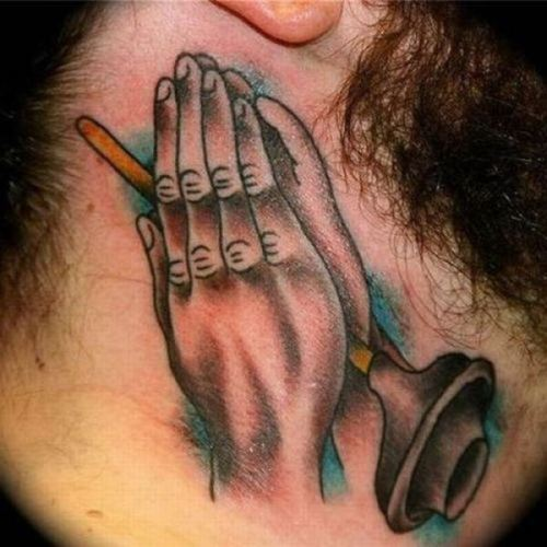 Praying hands, religious tattoos, horrible, stupid and funny!