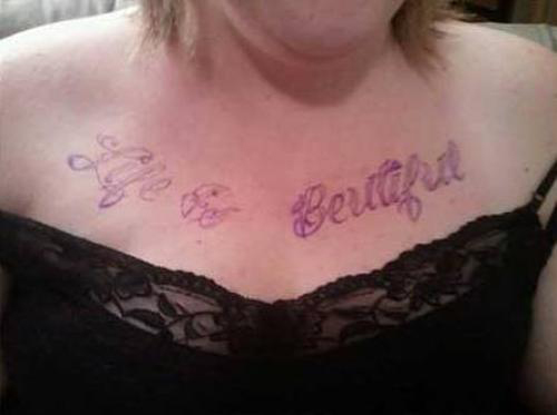 misspelled beautiful, chest tats, Bad Tattoos, Worst Tattoos, Funny Tattoos, horrible Tattoos, body art, awful tattoos ugliest tattoos, spelled wrong, nasty, ugly stupid, terrible, best tattoos, awesome tattoos, great tattoos