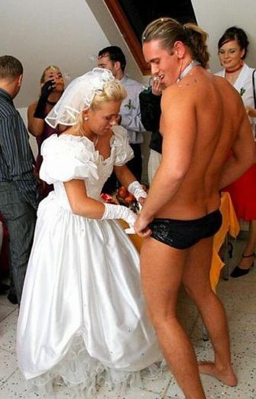 Wedding Stripper, Speedo: Funny Wedding Photos, wedding photography, worst wedding pictures, wedding disasters, wedding announcements, engagement announcements, awful wedding pictures, horrible, stupidity, ugly wedding dresses bridesmaid dresses