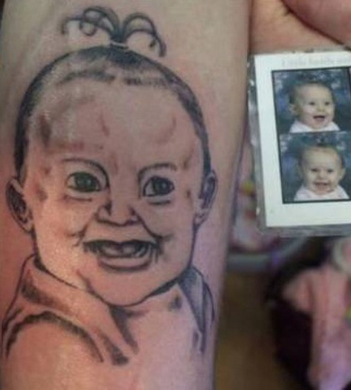 Portrait of Baby Tattoo, Bad Tattoos, Worst tattoos, funny pictures, horrible, ugliest tats stupid