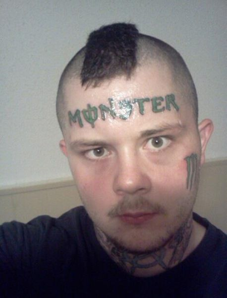 Monster Energy Drink Tattoo Forehead tattoos face tats worst tattoos, Funny pictures, ugliest tattoos, WTF, Fail, horrible tattoos
