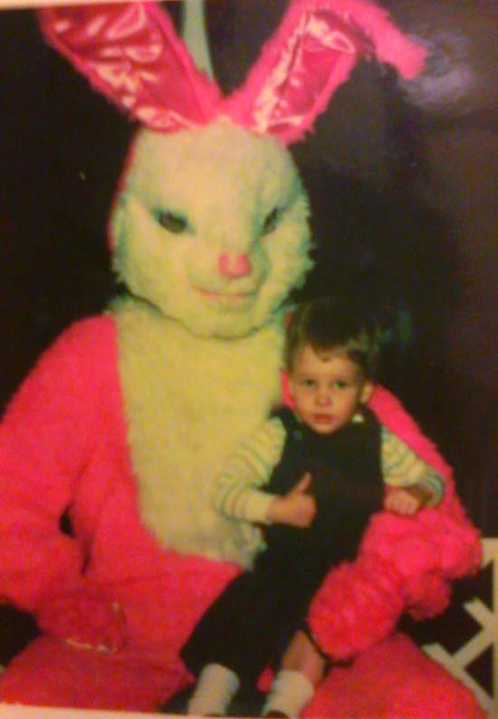 Creepy Easter Bunny Pictures: Sitting on Easter Bunny's Lap