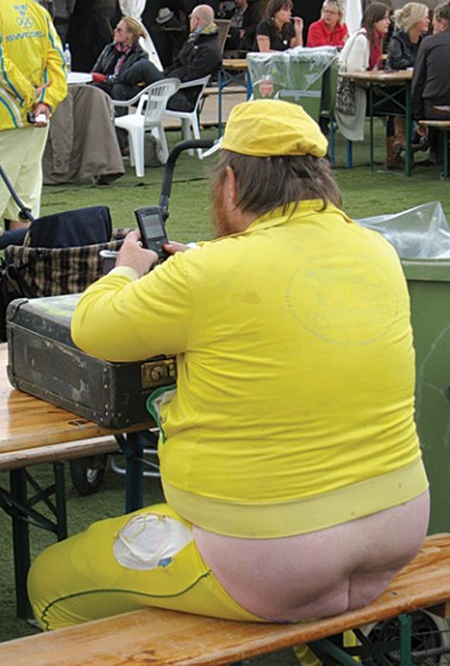 man in yellow butt crack showing Worst dressed men fashion disasters fashion fails worst tattoos bad tattoos worst family photos funny family pictures awkward family photos weird poorly dressed men males guys ugly ugliest clothes horrible awful wtf