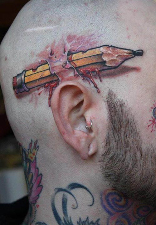 Pencil Behind Ear Tattoo regrettable bad tattoos terrible awful ugliest tattoos wtf ugly horrible tattoos funny tattoos awkward family america's worst tattoos photos crazy people weird stupid redneck humor
