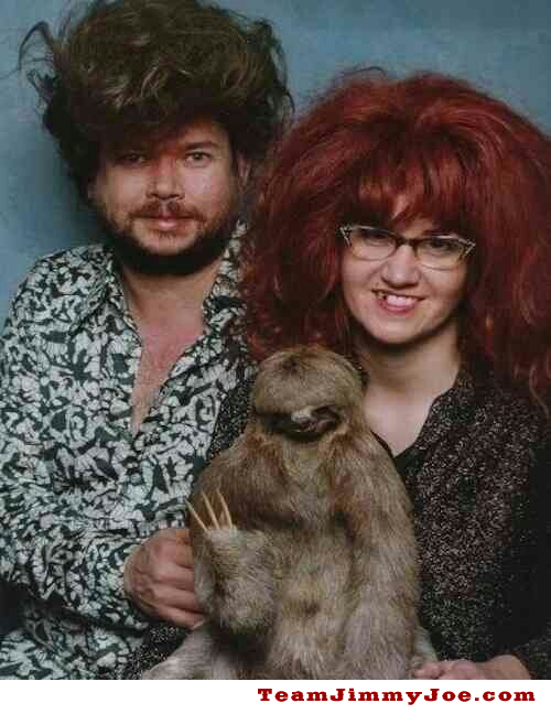 Family Portrait big hair sloth Bad Family Portraits, Bad Family Photos, Ellen, funny family photos, worst family pics, funny pictures, awkward family photos, wtf, ugly people, stupid people, crazy people, people of walmart