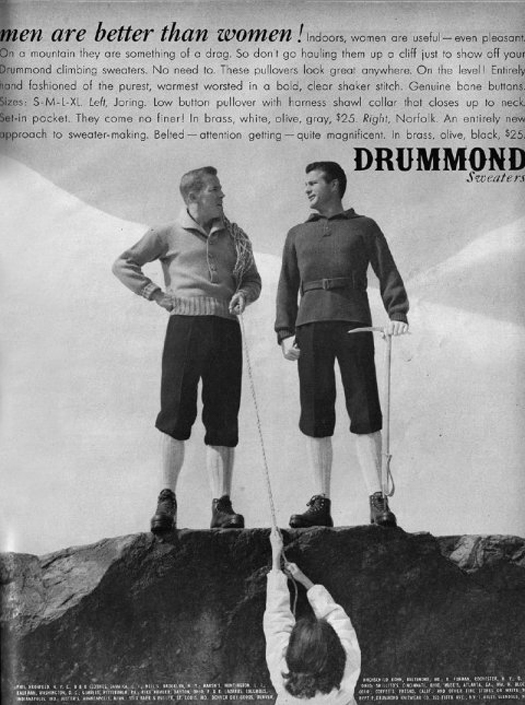 Men Are Better Than Women Drummond Sweaters - most sexist advertising print ads ever