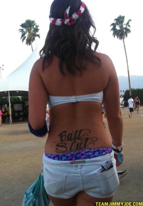 Butt Slut Tramp Stamp Worst tattoos bad tattoos funny stupid crazy horrible regrettable wtf awkward family photos