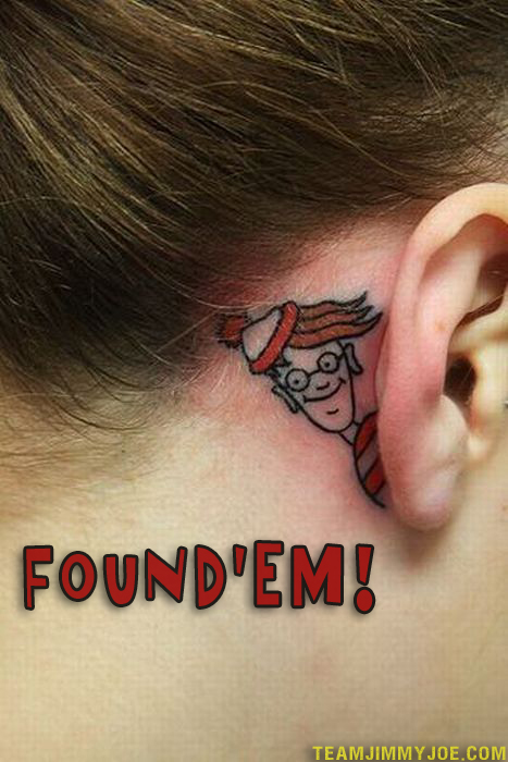 Where's Waldo Behind Ear Worst Tattoos Bad Tattoos Stupid People Funny Nasty Awful Horrible Terrible WTF Epic Fails