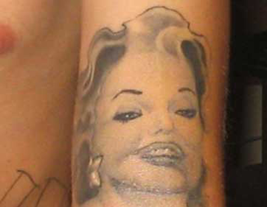 Bad Marilyn Monroe Tattoo Bad Tattoos Worst Tattoos Horrible Awful Funny Tattoos WTF Regrettable Regrets Stupid People What were you thinking Awkward