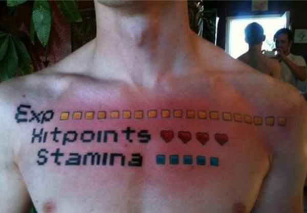 EXP Points Stamina Video Game Bad Tattoos America's Worst Tattoos Regrettable Horrible Awkward Stupid People Regrets Misspelled Nasty Tats WTF Funny