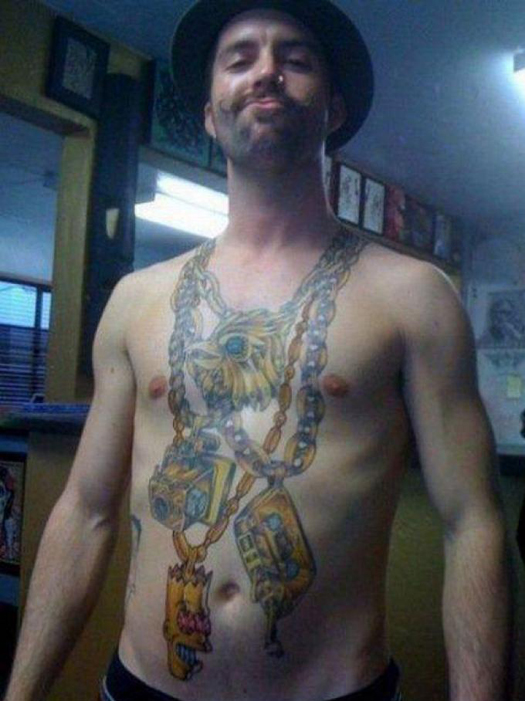 Chains bling douche bag Bad Tattoos America's Worst Tattoos Regrettable Horrible Awkward Stupid People Regrets Misspelled Nasty Tats WTF Funny