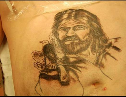 bad Jesus tat - Bad Tattoos America's Worst Tattoos Regrettable Awkward Stupid Ugliest Nasty Tats WTF Funny